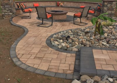 pavers to outdoor patio and fire pit