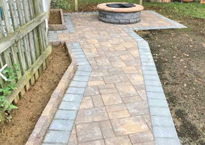 paver walkway and firepit